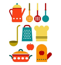 Colorful kitchen utensil set vector