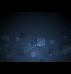 Dark blue abstract squares and waves background vector