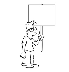 Black and white angry man with protest sign vector