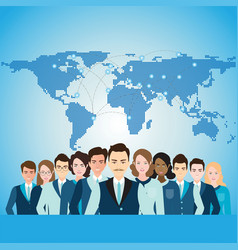 Global business people with world map vector