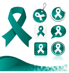 Teal awareness ribbons kit vector