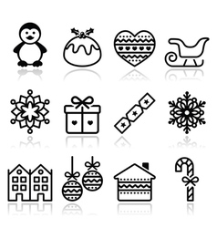 Christmas winter icons with stroke - penguin vector