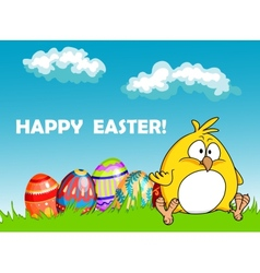 Happy easter greeting card with eggs and a chick vector