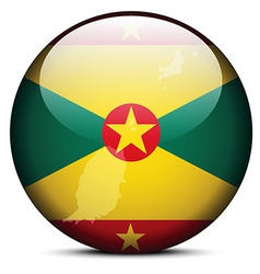 Map on flag button of grenada vector