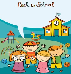 Kids characters back to school with text balloon vector