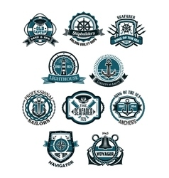 Marine and nautical heraldic emblems or icons vector