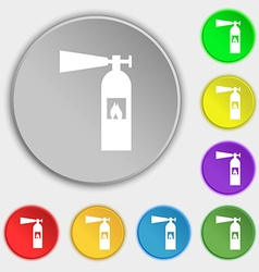 Fire extinguisher icon sign symbols on eight flat vector