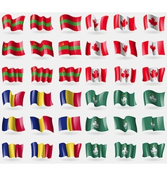 Transnistria canada romania macau set of 36 flags vector