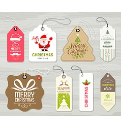 Merry christmas colorful label paper collections vector