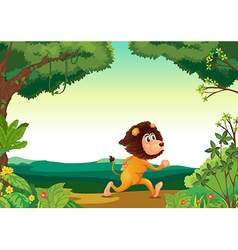 A lion running in the forest vector image vector image