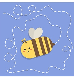 Bee Flying Path Blue vector image