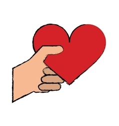 cartoon hand with red heart romantic valentines vector image