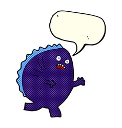 cartoon monster with speech bubble vector image