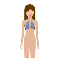Colorful silhouette female person with respiratory vector