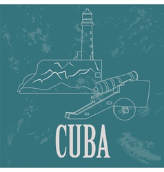Cuba landmarks retro styled image vector