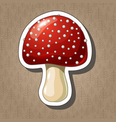 cute sticker with cartoon coloured mushroom vector image