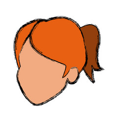 Face female character hair default image vector