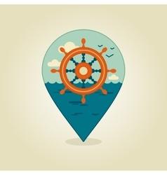 Helm pin map icon marine sea vector