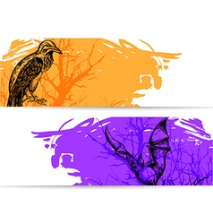 Horizontal banners for Halloween vector image