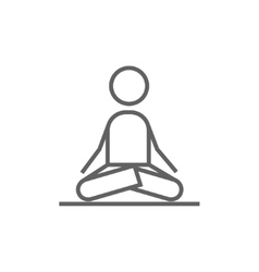 Man meditating in lotus pose line icon vector image