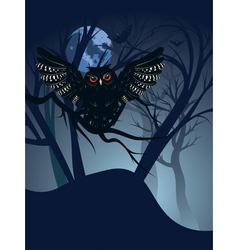 Owl in the night forest3 vector