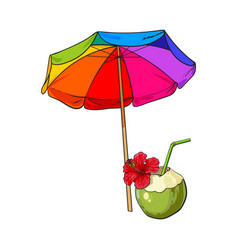 Rainbow colored open beach umbrella and coconut vector