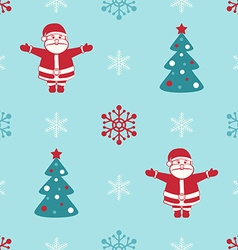 Retro christmas seamless background with santa fir vector