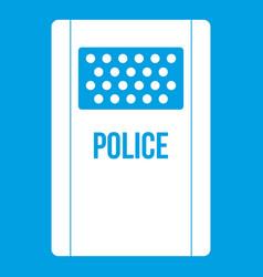 Riot shield icon white vector