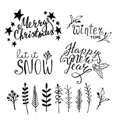 Set of Christmas hand drawn graphic elements vector image vector image