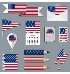 Set of stationety icons with flag elements USA vector image