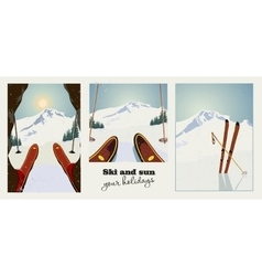 Set of winter ski vintage posters Skier getting vector image