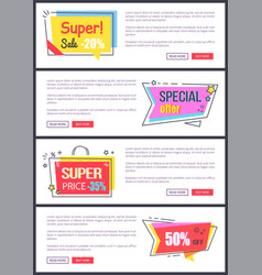 super sale -20 off special offer banners sticker vector image