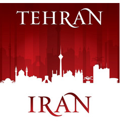 Tehran iran city skyline silhouette red background vector