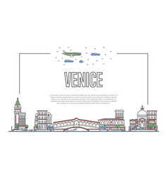 Travel venice poster in linear style vector