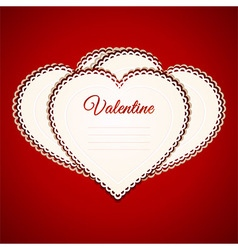 Valentine heart paper greetings card over red vector