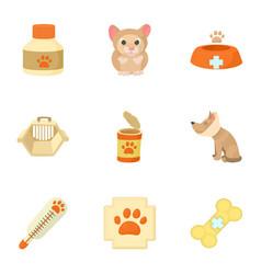 Veterinary animals icons set cartoon style vector