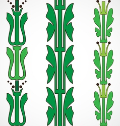 Vintage decorative set green floral pattern vector