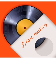 Vinyl record with cover poster vector