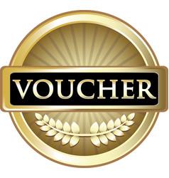Voucher gold icon vector