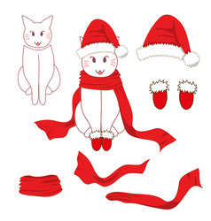 white santa cat with red scarf vector image