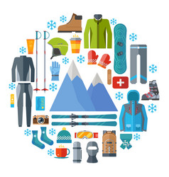 Winter sportswear and equipment round icon set vector
