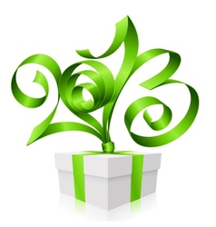 green ribbon in the shape of 2013 and gift box vector image