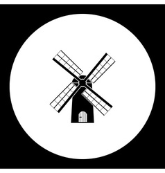 Simple wind mill black isolated icon eps10 vector