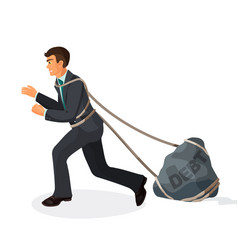 entangled in ropes businessman pulls stone burden vector image