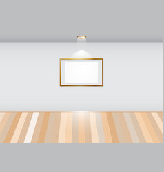 Empty room with blank frame on white wall vector