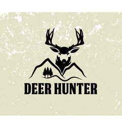 Deer head and mountains on grunge background vector
