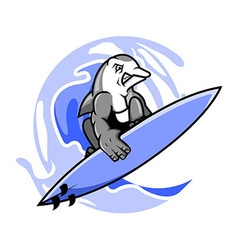 Surfer dolphin vector