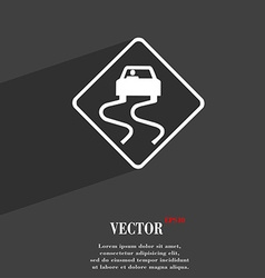 Road slippery icon symbol flat modern web design vector