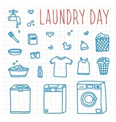 Laundry day hand drawn doodle objects vector