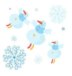 Beautiful snowman with snowflakes christmas card vector